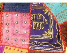 Étnico indio clásico de trabajo thaikissen puff taburete, taburete silla de RWE Bohemia, bordados de trabajo de cubierta thaikissen, algodón impreso a mano thaikissen Otomano, sala de estar thaikissen, 32 pulgada. Por Bhagyoday