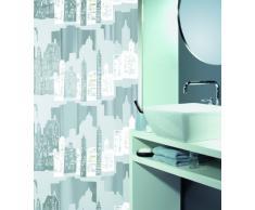 Spirella 10.11572 Skyline - Cortina de ducha de plástico opaco (180 x 200 cm), color blanco y plateado
