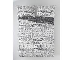 Munich Jet Grey Funda Nórdica, Algodón, Gris, Blanco, 135 cm
