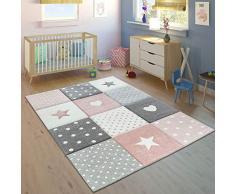 Paco Home Alfombra Infantil Pastel Cuadros Puntos Corazones Estrellas Blanco Gris Rosa, tamaño:140x200 cm