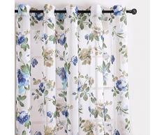 Top Finel cortina transparente de paneles para sala de estar,visillo de jardin bloom, 140 CM anchura por 215 CM longitud,ojales,solo panel,azul