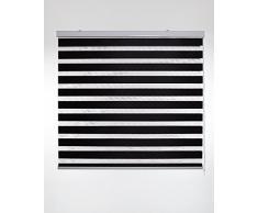 Blindecor Vela - Estor enrollable doble tejido, noche y día, color negro, 120 x 180 cm