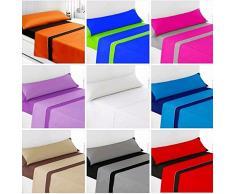 Regalitostv -Summer Colors-* Juego SÁBANAS DE Verano Lisas (3 Piezas) (Beige/Marron, 90_x_200_cm (Cama Individual))