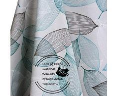 Manteles Hule Modernos Hojas Gris y Turquesa de PVC Fácil de Limpiar - 200 x 140 cm - Mantel Rectangular de Vinilo Plástico Fácilmente Limpiable con Diseño de Hojas