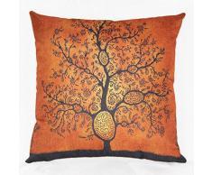 "Luxbon Funda Cojin Almohada Lino Duradero Árbol de Pensamiento Naranja Decoración para Sofá Cama Coche 18x18"" 45x45 cm"