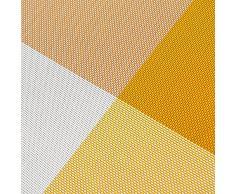 TININNA juego de 4 pcs ,diseño de la rejilla de aislamiento de PVC colorido comedor manteles individuales - comedor manteles para mesa de aislamiento de calor de la estera comer estilo Simple (Amarillo)
