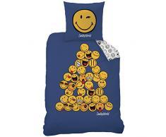 CTI 043839 Smiley World Pyramid - Juego de ropa de cama para habitación infantil (algodón, funda nórdica de 140 x 200 cm, funda de almohada de 63 x 63 cm), diseño de emojis, color azul