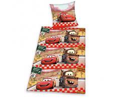 Herding 443001050 Disney Brave Cars ropa de cama, funda de almohada de 80 x 80 cm Funda nórdica 135 x 200 cm con, 100% algodón, diseño de