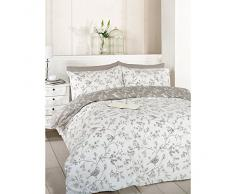 Just Contempo - Juego de funda nórdica y funda de almohada (algodón y poliéster, reversible), diseño de flores, mezcla de algodón, gris, suelto