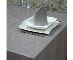 "Luxury plata - Mantel anti manchas Tratamiento - grande - REF. Lyon, Plateado, 59 x 59"" (150 X 150cm)"