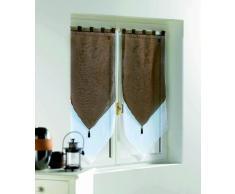 Douceur DInterieur 1362768 - Douceur dIntérieur - Cortinas con acabado triangular, color Blanco/Cacao, talla 2 x 60 x 12 x 60 cm