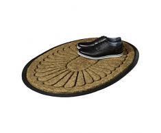 Relaxdays Felpudo Fibra de coco Oval 1,5 x 60 x 90 cm alfombra de suelo antideslizante, diseño flor