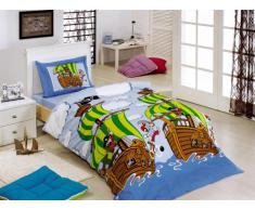 Zirvehome - Juego de ropa de cama infantil (135 x 200 cm y 80 x 80 cm), diseño de piratas