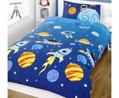 Juego de funda de edredón y funda de almohada para cama infantil, diseño de planetas
