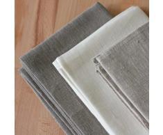 3 toallas de cocina 50x70 cm 100% lino natural blanco gris