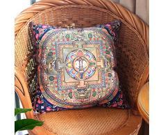 MeMoreCool estilo étnico Bohemia diseño en ambos lados de pana funda de almohada Home Sofá decorativo Cojín Throw almohada Toss – Funda de almohada – Utiliza para sofá/silla/cama, algodón, estilo1, 45cm by 45cm