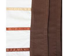 Just Contempo - Juego de funda nórdica y funda de almohada (algodón), diseño a rayas, poliéster, marrón oscuro, matrimonio
