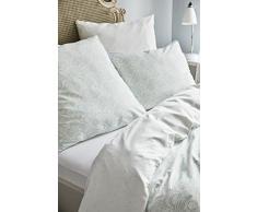 Esprit satén Ropa de Cama Tear Drops I Color Breeze I Conchas diseño I de Puro algodón I Cremallera, 155x220+80x80