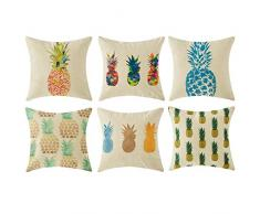 Topfinel Hogar 6 Cojines lino algodón fundas almohada decorativa para camas sofás sillas cuadrado 45X45cm serie piña