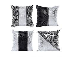 Juego de 4 Vintage negro plata Patchwork Floral Cojín para hogar decorativo fundas de almohada
