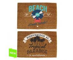 dcasa - Felpudo original de fibra de coco y base de goma diseño BEACH 40x60cm - Beach