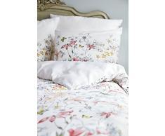 Esprit satén ropa de cama Edie I color multi I 200 x 220 2 x 80 x 80 cm flores I en blanco Razón I de puro algodón I cremallera