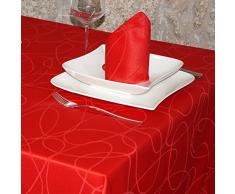 "Lujo rojo - mantel anti manchas Tratamiento - grande - REF. Líneas, Rojo, 59 x 78"" (150 x 200cm)"
