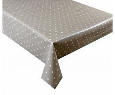2,5 metros mantel de vinilo (250 x 137 cm), diseño de lunares beige, 8 plazas Tamaño de tela se limpia con un paño para limpiar sellos de pvc mantel de tela impermeable y (72)