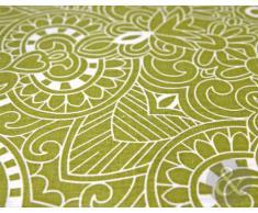 Juego de funda nórdica y funda de almohada, diseño de rayas y floral, algodón poliéster, verde lima, beige y verde, Double Duvet Cover