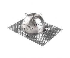 mDesign Tapete antideslizante decorativo para proteger el fregadero de arañazos – Alfombrilla de PVC extragrande – Protector de fregadero de cocina con diseño de rejilla – gris pizarra