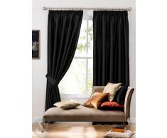 Cortina de seda sintética - Plain plisadas Cortinas con anillas y forro negro cortina 46 x 137,16 cm