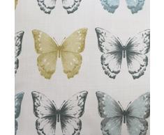 Juego de funda nórdica y funda de almohada, diseño de mariposas y texto en francés, algodón poliéster, dorado, amarillo, azul, blanco y gris, funda de cojín de 43 x 43 cm