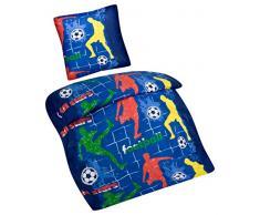 Aminata Kids – Ropa de cama 135 x 200 cm de fútbol Niños Algodón + cremallera azul rojo verde amarillo Jugadores de Fútbol portería de fútbol infantil Ropa de cama Ropa de cama de 2 piezas Set niños edredón de todo el año