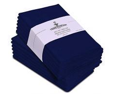 Servilletas de algod/ón de gran tama/ño hechas de tela de algod/ón puro - azul Trade Fountain Servilletas de tela Juego de 12 algod/ón Servilletas reutilizables de 50 X 50 CM