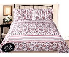 ForenTex- Colcha Boutí reversible, (SE-2578), cama 90 y 105 cm, 190 x 260 cm, Estampada cosida, Flores Rojas, colcha barata, set de cama, ropa de cama. Por cada 2 colchas o mantas paga solo un envío (o colcha y manta), descuento