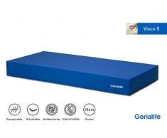 Gerialife® Colchón Geriátrico Hospitalario Articulado   5 cm de Viscoelástica   Funda Sanitaria Impermeable (105x190)