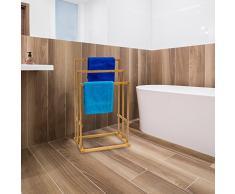 Relaxdays 10013085 - Toallero de bambú, 3 toallas, color natural