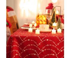 Deconovo Mantel Mesa Rectangular Mantel de Navidad Decoración Dibujo Collar 132 x 178 cm Rojo