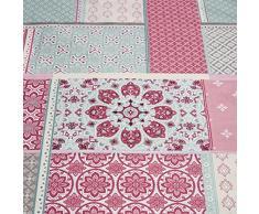 Marroquí & Estampado De Patchwork de colcha/ - Manta reversible, algodón poliéster, Rosa, 229x195