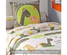 Linnea Dino - Juego de cama con funda nórdica (algodón, 140 x 200 cm), diseño infantil con dinosaurio