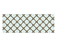 Laroom 14164 - Alfombra para cocina de vinilo, azulejos de flores, 140cm