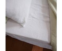 Sábana ajustable de lino. Color blanco óptico. LinenMe 135 x 190 x 20 cm.