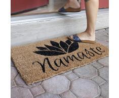 Entryways - Felpudo (40 x 60 cm, fibra de coco tejida a mano), diseño con mensaje Namaste