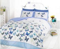 Just Contempo - Juego de funda nórdica y funda de almohada (algodón), diseño de mariposas, mezcla de algodón, azul (blanco), funda de edredón cama individual (infantil)