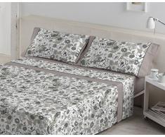 ES-Tela - Juego de sábanas Estampadas Erica Color Gris (4 Piezas) - Cama de 180 cm. - 50% Algodón/50% Poliéster - 144 Hilos