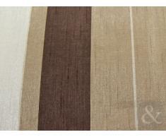 Just Contempo - Cortinas con ojales (seda sintética), diseño a rayas, Cortina 117 x 228 cm (extra larga, para salón), beige, marrón y dorado