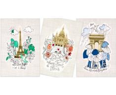 PARISCHERI 3TORPMOASS - Lote de Trapos de Cocina (algodón, 3 Unidades, 50 x 75 cm), diseño de monumentos de París