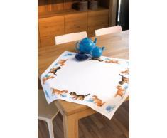 Vervaco Juego de Punto de Cruz para Mantel, diseño de Gatos con madejas de Lana
