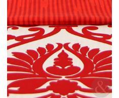 Just Contempo - Juego de funda nórdica y funda de almohada (poliéster y algodón), diseño de estampado de Damasco, Double Duvet Cover, rojo, beige y blanco