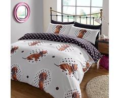Dreamscene – lunares perro Animal Juego de cama de funda de edredón con fundas de almohada, multicolor, cama individual